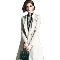 丁摩 新款西装领七分袖收腰系带中长款风衣外套0860