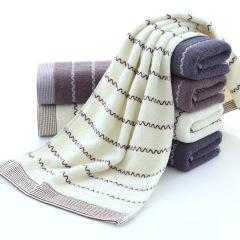 斜月三星欧洲风情3条装水波纹加厚毛巾 家用成人洗脸面巾 75*35cm